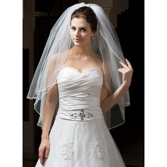 Two-tier Pencil Edge Fingertip Bridal Veils With Ribbon