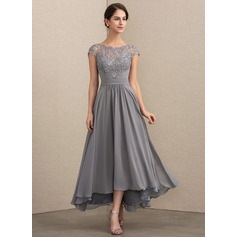 A-Line Scoop Neck Asymmetrical Chiffon Lace Mother of the Bride Dress (267253204)