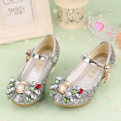 Girl's Closed Toe Leatherette Low Heel Flats Flower Girl Shoes With Bowknot Rhinestone Velcro