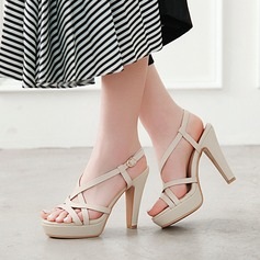 Women's Leatherette Chunky Heel Sandals Pumps Platform With Hollow-out shoes