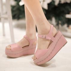 Women's Leatherette Wedge Heel Sandals Platform Wedges Peep Toe With Buckle Others shoes