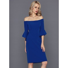 Sheath/Column Off-the-Shoulder Knee-Length Satin Cocktail Dress (016124582)