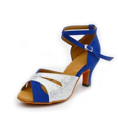 Women's Leatherette Suede Heels Latin With Buckle Dance Shoes