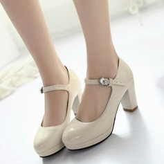 Women's Leatherette Chunky Heel Pumps Closed Toe With Rhinestone Buckle shoes