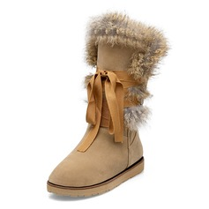 Leatherette Flat Heel Mid-Calf Boots With Fur shoes
