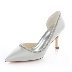 Women's Satin Stiletto Heel Closed Toe Pumps With Rhinestone (273194805)