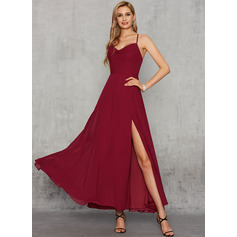A-Line V-neck Ankle-Length Chiffon Prom Dresses With Split Front