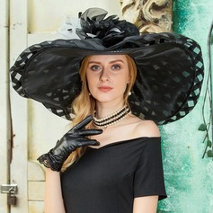 Fashion Organza With Feather Floppy Hat