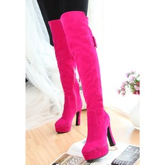Women's Suede Chunky Heel Pumps Platform Boots Over The Knee Boots With Zipper shoes