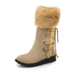 Women's Suede Wedge Heel Boots Mid-Calf Boots Snow Boots With Fur shoes