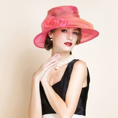 Ladies' Glamourous Organza With Flower Floppy Hats/Kentucky Derby Hats/Tea Party Hats