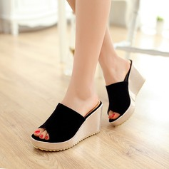 Women's Suede Wedge Heel Sandals Wedges Slippers With Others shoes (087127459)