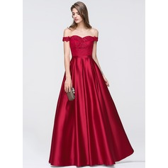A-formet/Prinsesse Off-the-Shoulder Gulvlengde Satin Ballkjole med Profilering paljetter