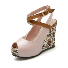 Women's Leatherette Wedge Heel Closed Toe Wedges shoes (116094402)