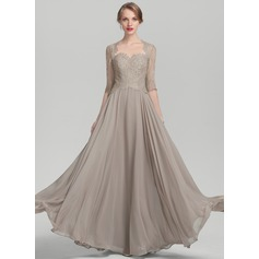 A-Line/Princess Sweetheart Floor-Length Chiffon Lace Mother of the Bride Dress