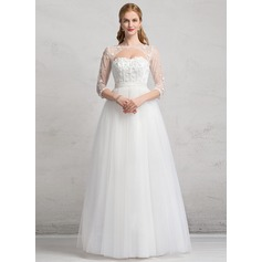 Ball-Gown Sweetheart Floor-Length Tulle Wedding Dress With Ruffle Lace Beading Appliques Lace Sequins