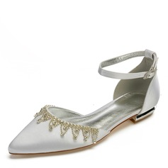 Women's Silk Like Satin Flat Heel Closed Toe Flats With Tassel Crystal