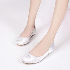 Women's Silk Like Satin Low Heel Closed Toe Flats With Ruffles