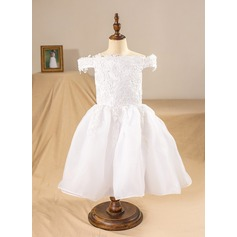 Ball Gown Tea-length Flower Girl Dress - Organza Sleeveless Off-the-Shoulder With Appliques