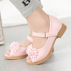 Girl's Leatherette Flat Heel Round Toe Peep Toe Sandals With Beading Satin Flower Velcro Flower