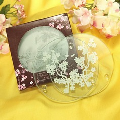 """Cherry Blossoms"" Frosted Glass Coasters"