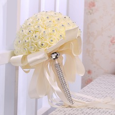 Refined Round Satin Bridal Bouquets -