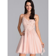 A-Line V-neck Short/Mini Tulle Homecoming Dress With Beading Sequins (022206514)