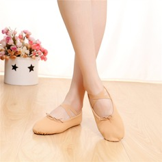 Women's Satin Flats Ballet Belly With Lace-up Dance Shoes