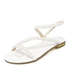 De mujer PU Tacón plano Sandalias Planos Encaje Solo correa con Perlas de imitación zapatos