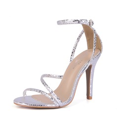Women's PVC Stiletto Heel Sandals Pumps Peep Toe With Buckle shoes (087154487)