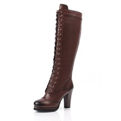 Real Leather Chunky Heel Knee High Boots Martin Boots With Lace-up shoes