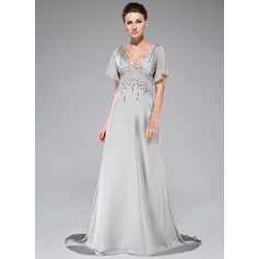 A-Line/Princess V-neck Sweep Train Satin Chiffon Evening Dress With Beading Sequins Cascading Ruffles