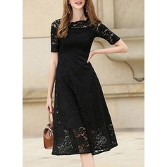 Lace mit Lace/Stitching/Hollow/Zerknittern/See-through-Blick Midi Kleid (199129897)