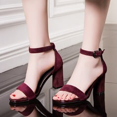 Women's Suede Chunky Heel Sandals Pumps shoes