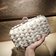Elegant Satin/Imitation Pearl Clutches/Satchel
