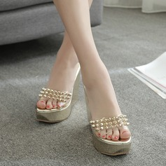 Women's PVC Wedge Heel Sandals Wedges Slippers With Rivet shoes