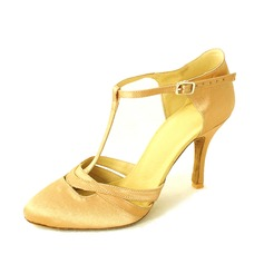 Women's Satin Heels Pumps Ballroom With T-Strap Dance Shoes