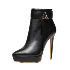 Women's Real Leather Stiletto Heel Boots With Ruched shoes