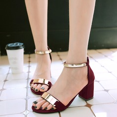 Women's Chunky Heel Sandals With Sequin Zipper shoes