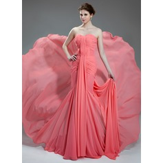 Trumpet/Mermaid Sweetheart Chapel Train Chiffon Prom Dress With Ruffle