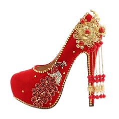 Women's Silk Like Satin Stiletto Heel Closed Toe Pumps With Imitation Pearl Rhinestone Tassel