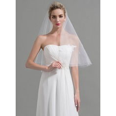 One-tier Cut Edge Waltz Bridal Veils With Applique