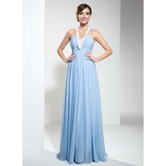 Empire Halter Floor-Length Chiffon Prom Dress With Ruffle Beading