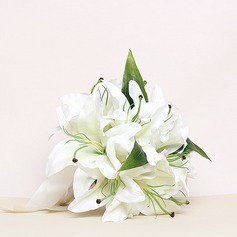 Elegant/Lily Round Satin Bridesmaid Bouquets