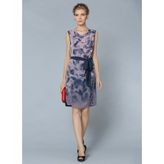 Polyester/Chiffon With Print Above Knee Dress (199086799)