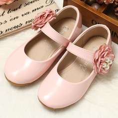 Girl's Round Toe Leatherette Flat Heel Flats Flower Girl Shoes With Satin Flower