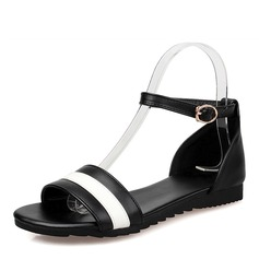 Women's Leatherette Flat Heel Sandals Flats Peep Toe Ankle Boots With Buckle shoes