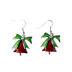 Christmas Bell Alloy/Coloured Glaze Ladies' Earrings