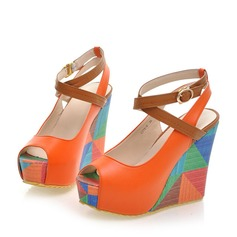 Women's PU Wedge Heel Sandals Pumps Wedges Peep Toe With Buckle shoes