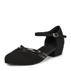 Women's Patent Leather Nubuck Flats Ballroom With Ankle Strap Dance Shoes (053021442)